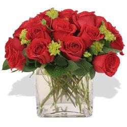 Denizli hediye sevgilime hediye çiçek  10 adet kirmizi gül ve cam yada mika vazo