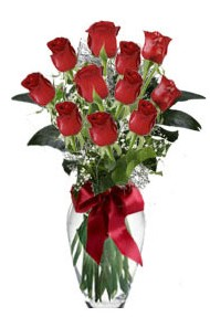 11 adet kirmizi gül vazo mika vazo içinde  Denizli çiçek , çiçekçi , çiçekçilik