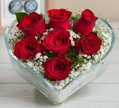 Kalp içerisinde 7 adet kırmızı gül  Denizli uluslararası çiçek gönderme