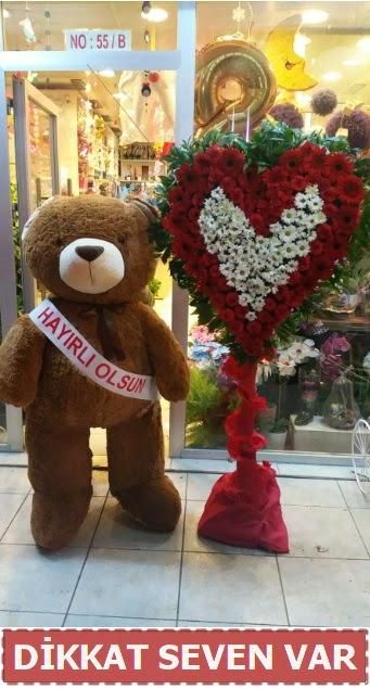 1.5 Metre peluş ayı ve Kalp  Denizli uluslararası çiçek gönderme