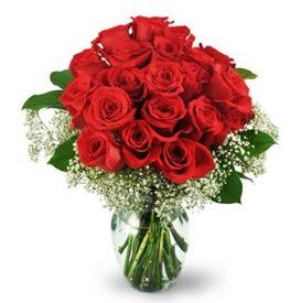 25 adet kırmızı gül cam vazoda  Denizli çiçek servisi , çiçekçi adresleri