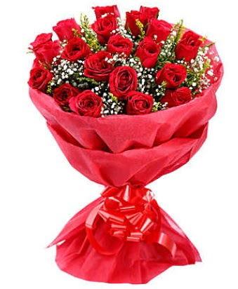 21 adet kırmızı gülden modern buket  Denizli anneler günü çiçek yolla
