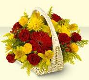 Denizli çiçek , çiçekçi , çiçekçilik  sepette mevsim çiçekleri
