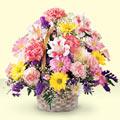 Denizli çiçek satışı  sepet içerisinde gül ve mevsim