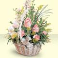 Denizli çiçek , çiçekçi , çiçekçilik  sepette pembe güller