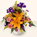 Denizli çiçek , çiçekçi , çiçekçilik  sepet içinde karisik çiçekler