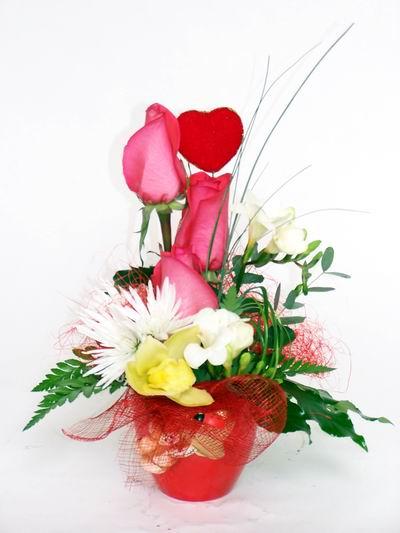 Denizli çiçek mağazası , çiçekçi adresleri  cam içerisinde 3 adet gül ve kir çiçekleri