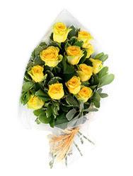 Denizli internetten çiçek siparişi  12 li sari gül buketi.