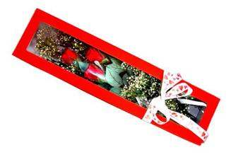 Denizli kaliteli taze ve ucuz çiçekler  Kutuda 3 adet gül