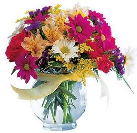Denizli online çiçekçi , çiçek siparişi  cam yada mika içerisinde karisik mevsim çiçekleri