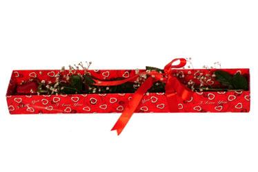 Denizli hediye sevgilime hediye çiçek  kutu içerisinde 1 adet kirmizi gül