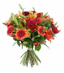 Denizli anneler günü çiçek yolla  3 adet kirmizi gül ve karisik kir çiçekleri demeti