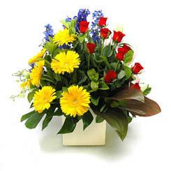 Denizli çiçek yolla  9 adet gül ve kir çiçekleri cam yada mika vazoda