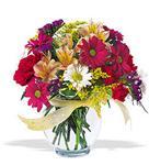 Denizli çiçek servisi , çiçekçi adresleri  cam yada mika vazo içerisinde karisik kir çiçekleri