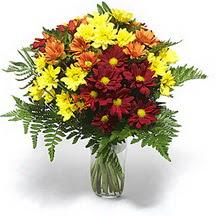 Denizli yurtiçi ve yurtdışı çiçek siparişi  Karisik çiçeklerden mevsim vazosu