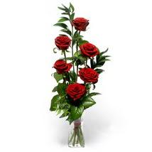 Denizli yurtiçi ve yurtdışı çiçek siparişi  cam yada mika vazo içerisinde 6 adet kirmizi gül