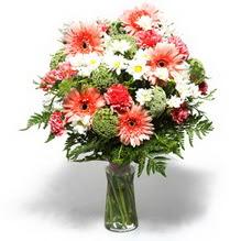 Denizli çiçek yolla , çiçek gönder , çiçekçi   cam yada mika vazo içerisinde karisik demet çiçegi