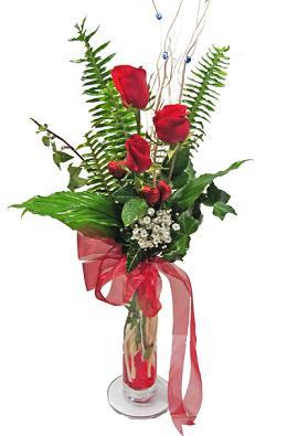 Çiçek gönderin cam vazoda 3 gül çiçekleri  Denizli yurtiçi ve yurtdışı çiçek siparişi