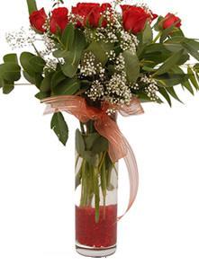 Denizli çiçek satışı  11 adet kirmizi gül vazo çiçegi