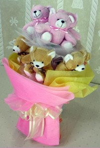 8 adet ayiciktan buket  Denizli çiçek gönderme