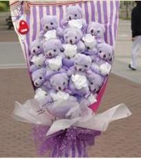 11 adet pelus ayicik buketi  Denizli uluslararası çiçek gönderme