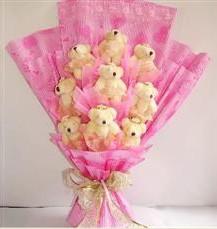 9 adet pelus ayicik buketi  Denizli ucuz çiçek gönder