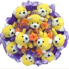 11 adet pelus ayicik buketi  Denizli internetten çiçek satışı