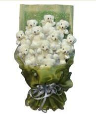 11 adet pelus ayicik buketi  Denizli çiçek yolla