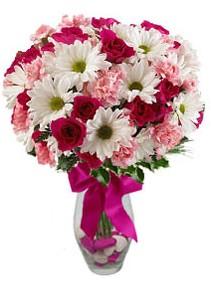 Denizli yurtiçi ve yurtdışı çiçek siparişi  Karisik mevsim kir çiçegi vazosu