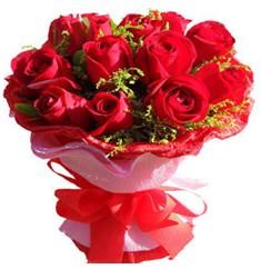9 adet kirmizi güllerden kipkirmizi buket  Denizli çiçek yolla , çiçek gönder , çiçekçi