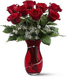 Vazo içinde 8 adet kirmizilar içinde güller  Denizli İnternetten çiçek siparişi