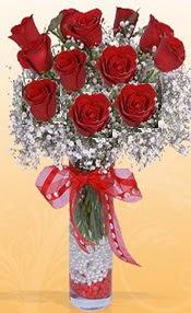 10 adet kirmizi gülden vazo tanzimi  Denizli yurtiçi ve yurtdışı çiçek siparişi