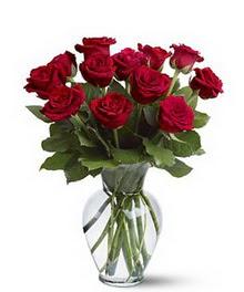 Denizli uluslararası çiçek gönderme  cam yada mika vazoda 10 kirmizi gül