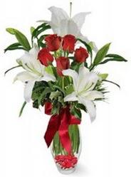Denizli çiçek gönderme sitemiz güvenlidir  5 adet kirmizi gül ve 3 kandil kazablanka