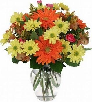 Denizli hediye çiçek yolla  vazo içerisinde karışık mevsim çiçekleri