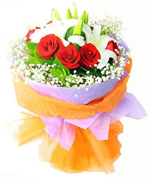 Denizli uluslararası çiçek gönderme  1 dal kazablanka 7 adet kırmızı gül buketi