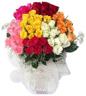Denizli hediye sevgilime hediye çiçek  51 adet farklı renklerde gül buketi