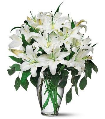 Denizli online çiçekçi , çiçek siparişi  4 dal kazablanka ile görsel vazo tanzimi