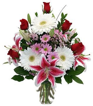 Denizli internetten çiçek satışı  1 dal kazablanka 5 gül ve kırçiçeği vazosu