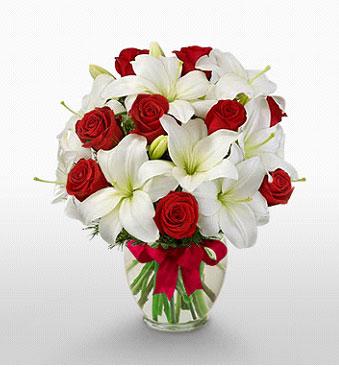 Denizli kaliteli taze ve ucuz çiçekler  1 dal kazablanka 11 adet kırmızı gül vazosu