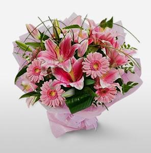 1 dal kazablanka ve kır çiçek görsel buketi  Denizli online çiçekçi , çiçek siparişi