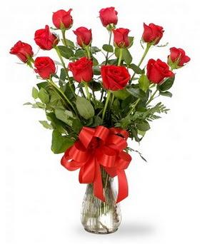 Denizli çiçek servisi , çiçekçi adresleri  12 adet kırmızı güllerden vazo tanzimi