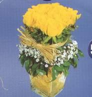 Denizli ucuz çiçek gönder  Cam vazoda 9 Sari gül