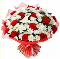 11 adet kırmızı gül ve beyaz kır çiçeği  Denizli online çiçekçi , çiçek siparişi