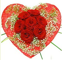 Mika kalp içerisinde 7 adet kırmızı gül  Denizli güvenli kaliteli hızlı çiçek
