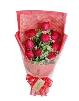 9 adet kırmızı gülden görsel buket  Denizli çiçek mağazası , çiçekçi adresleri