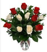 Vazo içerisinde 6 kırmızı 6 beyaz gül  Denizli kaliteli taze ve ucuz çiçekler