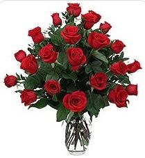 Denizli yurtiçi ve yurtdışı çiçek siparişi  24 adet kırmızı gülden vazo tanzimi