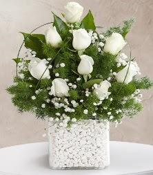 9 beyaz gül vazosu  Denizli çiçek online çiçek siparişi
