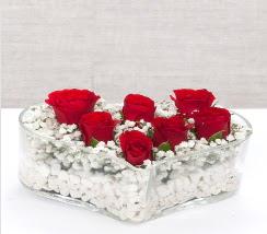 kalp içerisinde 7 adet kırmızı gül  Denizli çiçek gönderme sitemiz güvenlidir